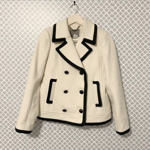J. Crew Tipped Peacoat Ivory by Nello Gori